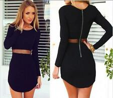 Womens Sexy Bodycon Long Sleeve Casual Evening Party Cocktail Mini Short Dress