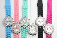 Candy Colors Geneva Silicone Crystal Quartz Ladies Women Jelly Dial Wrist Watch