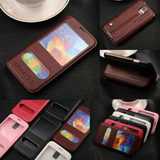 Double View Window Folio Flip PU Leather Case Stand Cover For Samsung HTC Sony