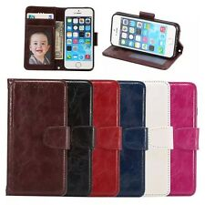 Vintage Flip PU Leather Wallet Cover Stand Card Slot Case for Samsung iPhone