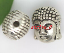 8/30/150pcs Tibetan Silver two-sided 3D Buddha head Charms Spacer Beads 11x9mm