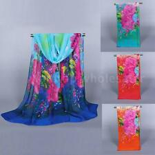 Pretty Women's Fashion Long Soft Wrap Lady Floral Shawl Chiffon Nice Scarf OP2Q