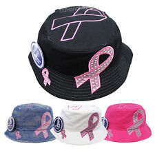 Pink Ribbon Rhinestone Glitter Bucket Hat Breast Cancer Awareness Boonie Cap New