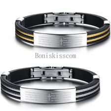 Bible Cross Black Silicone Stainless Steel Men's Bracelet Bangle Cuff Wristband