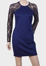 JOHN ZACK LONDON LADIES BLUE STRETCH BODYCON LACE DRESS SIZE UK 6-16 BNWOT