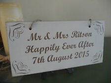Personalised Wedding Happily Ever After Sign Vintage Shabby Wooden Plaque Date