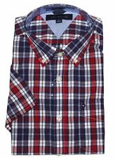 Tommy Hilfiger Mens' Short Sleeve Custom Fit Button Down Plaid Shirt