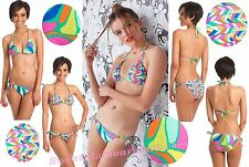 $152 Trina Turk Tropicalia Reversible Triangle Top & Tie Side Bottom Bikini Set