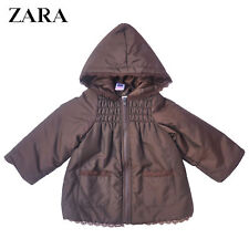 ZARA Girls Brown Lace trim Puffer Coat BNWT RRP €34.95 Size 18-24M Last Chance!