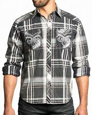 New AFFLICTION Men's Black Plaid Casual Button One Day Left L/S Woven Shirt $88