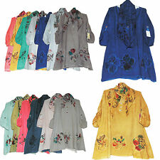 Italian Lagenlook Quirky Summer Floral Tunic Loose Top Plus Size Shirt UK 14-20