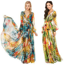 New Women Casual Long Dress Floral Slim Bandage Cocktail V Neck Clubwear Chiffon