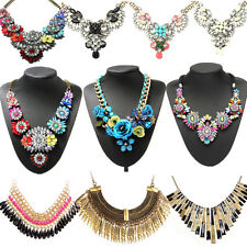 Crystal Statement Bib Chunky Pendant Chain Choker Necklace Fashion Gift
