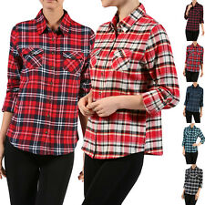 Casual Plaid & Check Roll Up Long Sleeve Front Pocket Button Down Blouse Shirt