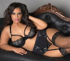Sexy PLUS Size Lingerie set UNLINED Cups Cut out BRA, HIGH WAIST Garter, Gstring