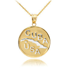 10k Two Tone Solid Yellow / White Gold CUBA-USA Medallion Pendant Necklace