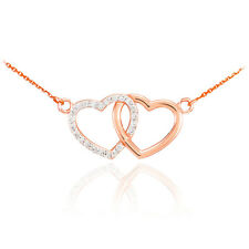 14K Rose Gold Double Heart Pendant with Diamonds Necklace Valentine's Day Gift