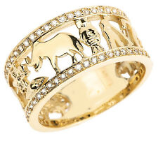 Solid 14k Yellow Gold CZ Studded Unisex Lucky Ring
