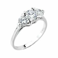 10k White Gold Three-Stone Clear Cubic Zirconia 2.0ct Engagement Wedding Ring