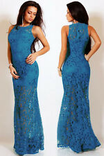 New Sexy Women Lace Satin Patchwork Party Prom Sleeveless Bodycon Maxi Dress