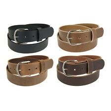 "Genuine Buffalo Leather Belt_1 1/2"" wide_Amish Handmade_Nickel Finish Buckle_142"