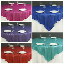 """60"""" Square Sequined TABLE OVERLAY Designer Wedding Party Catering Event Linens"""