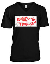 Zombie Repellent Chainsaw Horror Scary Movie Buff Humor Mens V-neck T-shirt