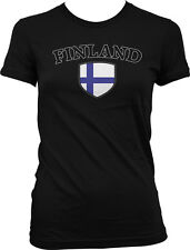 Finland Flag Crest Finnish Suomi National Soccer Football Pride Juniors T-shirt