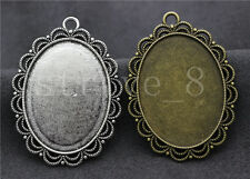 2/6/30pcs Tibetan Silver Cameo Cabochon Lace Base Setting Jewelry Charms 54x40mm