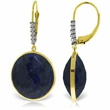 Genuine 46 ctw Sapphire Gems & Diamond Dangle Leverback Earrings 14K. Solid Gold