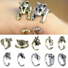 Punk Women Retro Animal Pet Ancient Silver/Bronze Crystal Adjustable Wrap Ring
