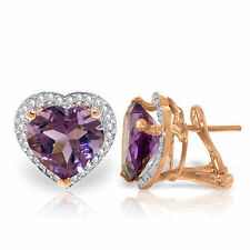 Genuine Amethyst Heart Gemstones & Diamonds French Clip Earrings 14K. Solid Gold