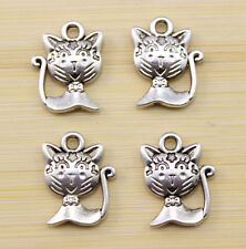 25/50/100 pcs  Very lovely Tibetan silver pussy cat charm pendant 16x12mm