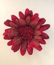 GLITTERED VELVET GERBERA DAISY ARTIFICIAL FLOWER HAIR CLIP/PIN BROOCH