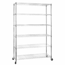 6 Shelf Chrome Wire Shelving 1875mm Tall Racking Heavy Duty Storage with Wheels