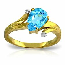 Genuine Blue Topaz Pear Cut Gem & Diamonds Ring in 14K. Yellow, White, Rose Gold
