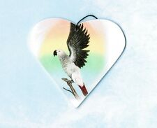 African Grey Parrot Ornament Or Magnet Christmas Tree Decoration Heart Shape