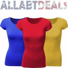 Active Basic Women's Basic Solid Round Neck Cap Sleeve Tee Shirt Top-Size Small