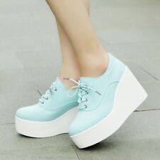 new fashion creeper wedge platform shoes womens lace up high top sneakers shoes