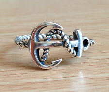 925 Sterling Silver Anchor Twisted Rope Plain Stacking Ring- US Size 6,7,8,9