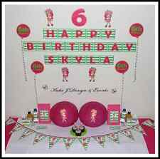 ** STRAWBERRY SHORTCAKE PERSONALISED Birthday Party Decorations Scene Setter **