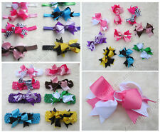 MIX LOT Boutique Hair Bows Toddler Girl Baby Kid Grosgrain Ribbon clip Headband