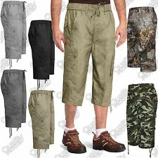 MENS 3/4 SHORTS CARGO COMBAT 6 POCKETS SUMMER JUNGLE CAMOUFLAGE TROUSERS PANTS