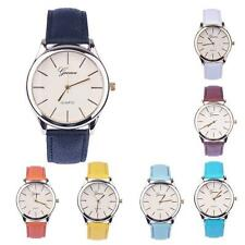 Women Leather Analog Quartz Wrist Watch  with Metal Case and Faux Leather Band