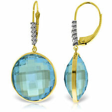 Genuine 46.15 ctw Blue Topaz Gemstone & Diamonds Dangle Earrings 14K Solid  Gold