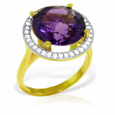 Genuine Purple Amethyst Round Gemstone Diamonds Halo Design Ring 14K. Solid Gold