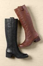 LUCKY BRAND HELOISSE BLACK LEATHER PULL ON KNEE HIGH RIDING BOOT BASEL HIBISCUS