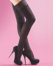 Silky Soft Opaque Luxury Lace Top Hold Ups, Thigh Highs, 40D Black Stay Ups