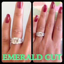 4 Carat Emerald Cut Engagement Diamond Ring Solid Sterling Silver 925