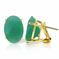 Genuine 13.0 ctw Emerald Oval Cut Gemstones French Clip Studs 14K. Gold Earrings